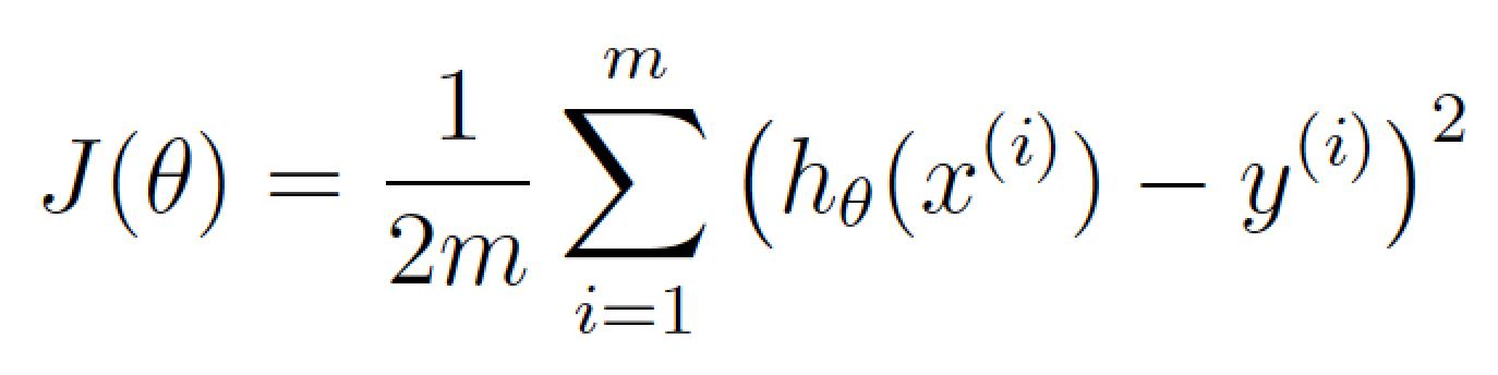 θ نماینده وزنهای فعلی شما است. J(θ) یعنی هزینه به ازای این مجموعه از وزنها.